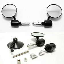 "MOTORCYCLE CAFE RACER BOBBER 7/8"" GRIPS HANDLE BAR END REARVIEW MIRRORS BLACK"