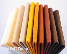 10 x 9in Wool Blend Felt Squares Neutrals Natural Tones
