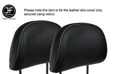 WHITE STITCH 2X FRONT HEADREST LEATHER SKIN COVERS FITS AUDI A4 B8 2008-2013