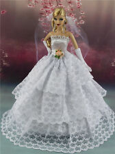 White Fashion Party Dress/Wedding Clothes/Gown+Veil+Gloves For Barbie Doll S505U