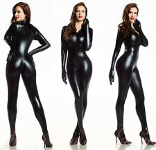 Women Vinyl PVC Wetlook CATSUIT Teddies Bodysuit Jumpsuit Costume S-M