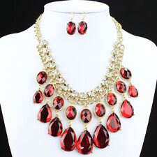 THICK GOLD TONE CURB CHAIN RED DIAMANTE CRYSTAL TEAR DROP NECKLACE & EARRING SET