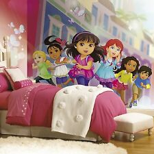New XL DORA THE EXPLORER AND FRIENDS PREPASTED WALLPAPER MURAL Girls Wall Decor