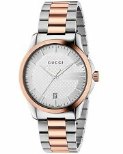 NEW GUCCI G-TIMELESS ROSE TW0-TONE SILVER DIAL UNISEX WATCH YA126447