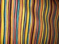 BRIGHT PINK BLACK YELLOW TEAL WHITE STRIPE COTTON DRAPERY UPHOLSTERY FABRIC