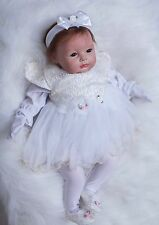 """Full Silicone Reborn Baby Girl doll 22"""" lifelike soft vinyl With Clothes Cute"""