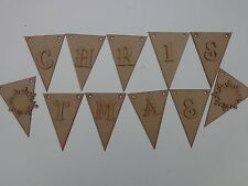 11 Triangle Bunting With Christmas Letters + Snowflakes Wooden MDF Craft Blanks