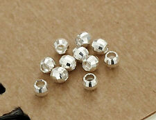 925 Sterling Silver 30 Facet Spacer Beads 2.5x3 mm.