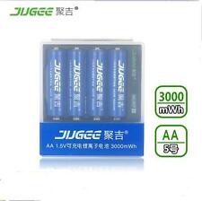 4 PCS JUGEE 1.5v AA 3000mah LI-polymer rechargeable batteries with USB charger