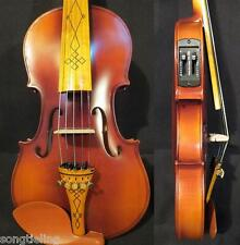 Brown color NEW model 5 strings 4/4 electric violin +Acoustic violin #9452