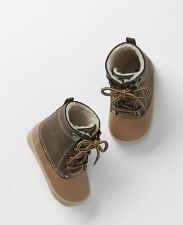 GAP Baby Toddler Boy 18-24 Months Brown Tan Sherpa-Lined Ski Booties Boots Shoes