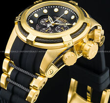 Invicta Reserve Bolt Zeus Swiss Chronograph Movt 18K Gold IP Black PU SS Watch !