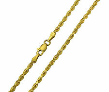 """14K Solid Yellow Gold Diamond Cut Rope Chain Necklace 2.5mm 26""""  (3/32"""" width)"""