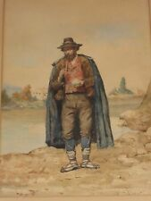 BEST ACHILLE BUZZI ITALIAN PEASANT VILLAGER WITH PIPE WATERCOLOR PAINTING