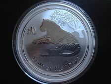 2010 Australia Lunar 2 Tiger $2 2oz .999 Pure Silver Bullion Coin Perth Mint