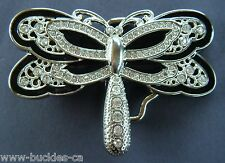 BLACK RHINESTONE COOL DRAGONFLY FASHION INSECT BELT BUCKLE BELTS BUCKLES