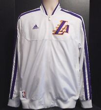 Los Angeles Lakers NBA adidas white purplestrips zip warm up jacket M