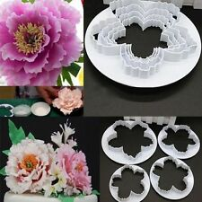 4pcs New Peony Flower Fondant Mold Cake Cookies Embosser Cutter
