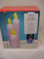 8 FOOT TALL CANDLES 3 PIECE INFLATABLE DISCO LIGHTS CHRISTMAS YARD NEW LIGHTED
