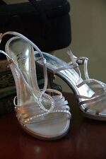 "TOUCH OF NINA SHOES 'GALLERY"" LEATHER SOLE SILVER RHINESTONE SPIKE PLATFORM 9M"