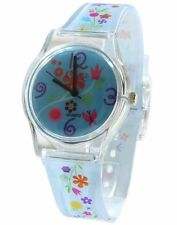 Core Girls Designer Sea Blue Dial With Sky Blue Floral Multi Flower Strap