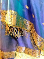 Metallic Gold Blue Embroidered Paisley 100% PURE SILK Indian Scarf Shawl Fringe