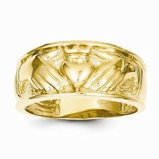 14K YELLOW GOLD MEN'S CLADDAGH CELTIC DESIGN BAND/RING   6.4 GRAMS  SIZE 10