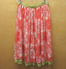 AQUARIUS Anthropologie 4 Coral Pink Green Cream Sequin Triangle Print Skirt