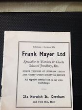 Ephemera 1950s Advert Dereham  Frank Mayer Ltd Watches M58101