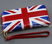 British Flag Lady Zipper Clutch Wallet Hand Wrist Bag