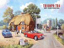 Triumph TR4, Tea Rooms Classic British Sports Car Old Mini, Small Metal/Tin Sign