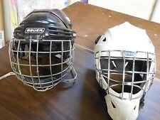 2 Helmets Itech Bauer Ice Hockey Goalie Helmet Black White Face Mask