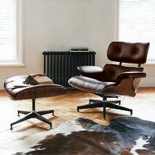 Eames Inspired Lounge Chair & Ottoman - Brown Leather