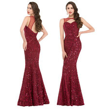 CHEAP~RED Sleeveless Sequined FORMAL Ball Gown Evening Prom Party Dress SIZE 12