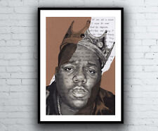 The Notorious B.I.G. Portrait Drawing with Juicy lyrics signed Giclée art print