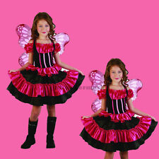 Butterfly Beauty Girls Costume & Wings Child Pink Fairy Halloween Dress S: M(8)