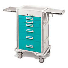 "Steel Procedure Cart 6 Aluminum drawers Push button lock 47.25""H Teal"