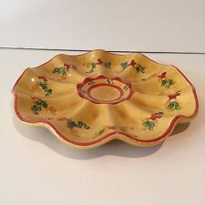 Terre Provence French Pottery Flower Floral Melon Dish Platter Hand Painted