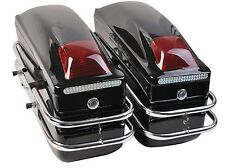 Motorcycle Cruiser Saddle Bags Hard Trunk Luggage With Lights Mounted Black New