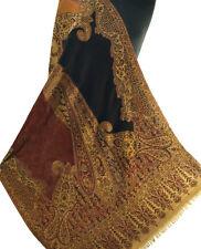 """Black & Burgundy Jamawar Paisely Pashmina Stole Wool Jamawar India 80x28"""""""