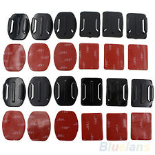 Durable 12pcs Camera Helmet Flat Curved Adhesive Mount For Gopro Hero 1/2/3 /3+