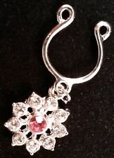 1 (ONE) 10 GEM PINK & CRYSTAL FLOWER NIPPLE CLIP-ON FAKE NON PIERCING