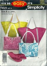 Simplicity Sewing Pattern 4629 Purses Bags Slippers in Three Sizes S M L