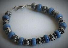 "Pretty 6"" Sterling Silver Blue Stone Bali Styled Bead Bracelet"