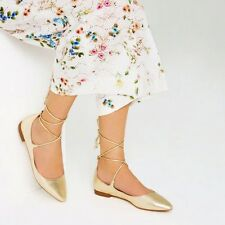 ZARA  GOLD-TONE LACE UP FLAT POINTED SHOES SIZE UK 6 EU 39 USA 8