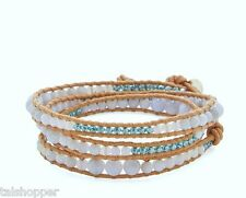 NWT Chan Luu Blue Agate Gemstone Crystal Beads Leather Bohemian Wrap Bracelet