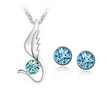 Austria Crystal Necklace Stud Earring Set for Womens for Party Functions
