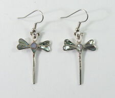 Alpaca silver dragonfly earrings with shell inlay and surgical steel ear wires