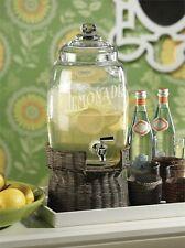 Glass Lemonade Beverage Dispenser on Rattan Base