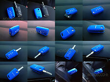 QUALITY SILICONE 3 BUTTON FLIP KEY FOB PROTECTOR CASE VW MARK 7 GOLF GOLF R BLUE